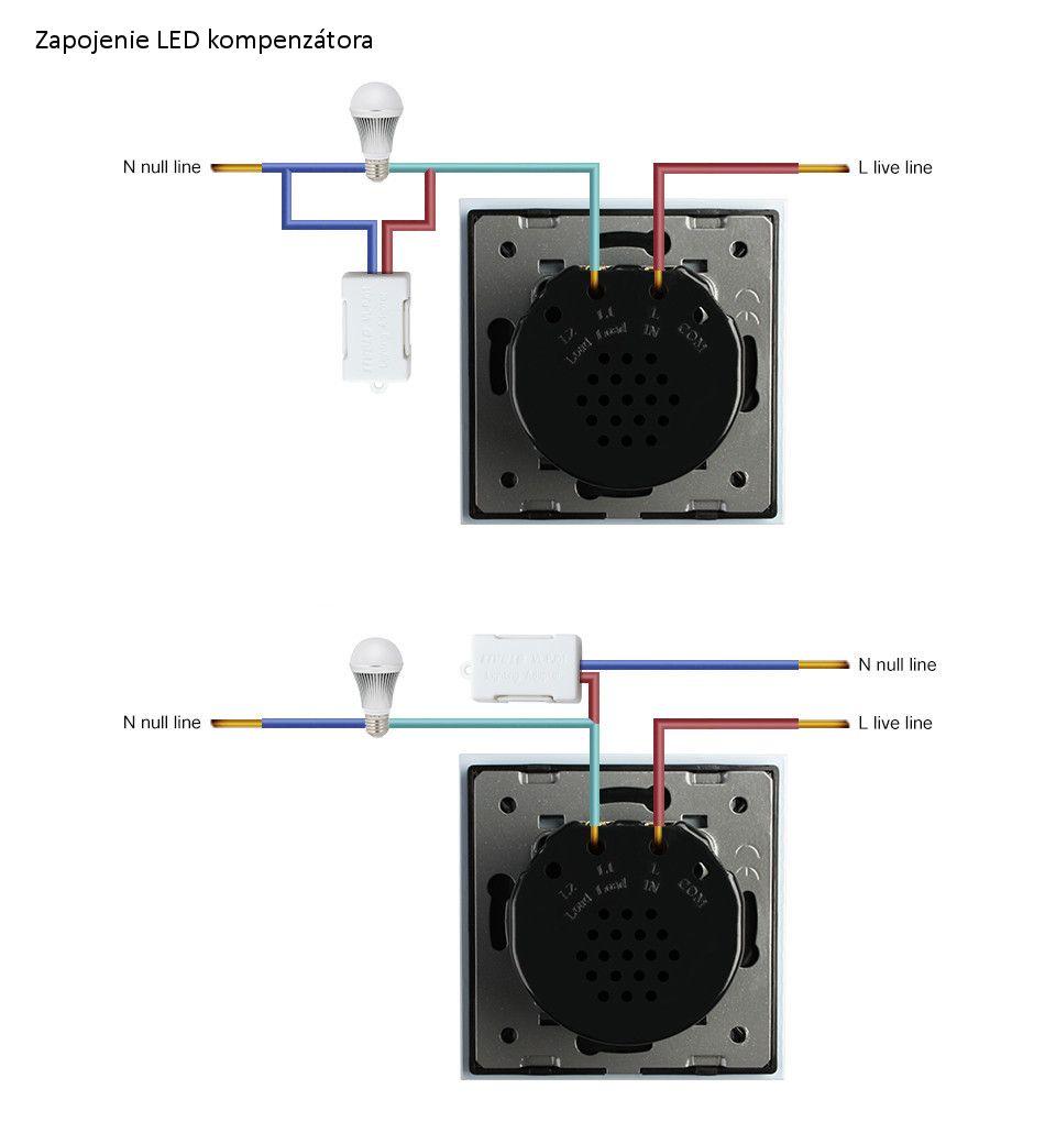 Výkon nie je s kompenzátorom obmedzovaný, takže je možné využívať vypínače už od 1W záťaže. LED kompenzátor sa jednoducho pripíja paralelne ku ktorémukoľvek svietidlu v obvode