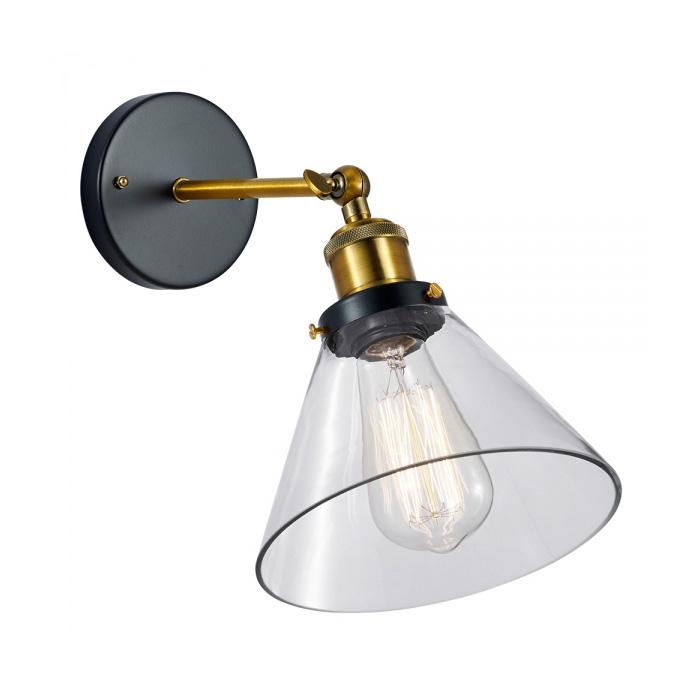 Historické nástenné svietidlo so skleneným tienidlom na žiarovky typu E27
