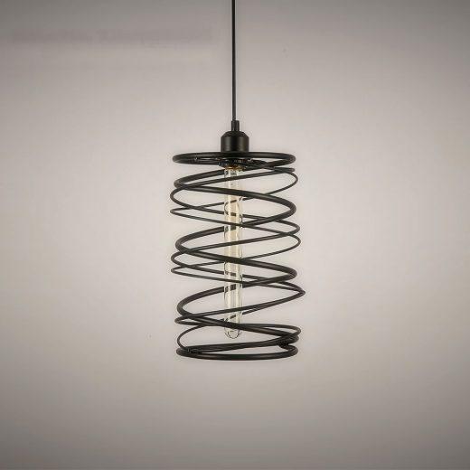Historické-závesné-svietidlo-Špirála-v-čiernej-farbe-na-žiarovky-typu-E27-je-svietidlo-určené-na-stenu-v-historickom-vzhľade