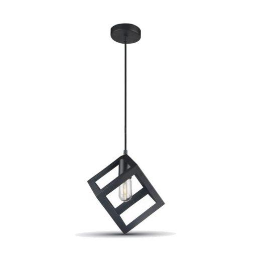 Historické závesné svietidlo Kocka v čiernej farbe