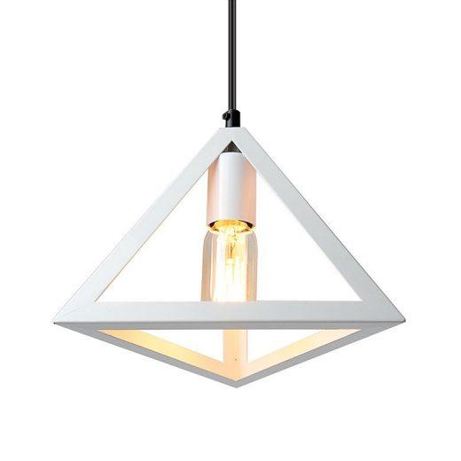 Historické závesné svietidlo Trojuholník v bielej farbe (2)