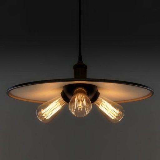 Historické závesné svietidlo s tromi päticami s mohutným tienidlom na tri žiarovky typu E27