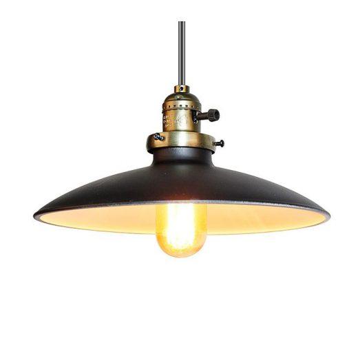 Historické klasické závesné svietidlo s lesklým tienidlom v čiernej farbe (2)