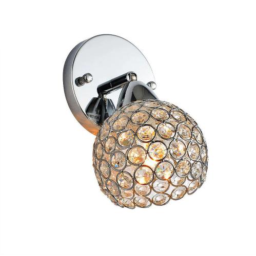 Moderné nástenné kryštálové svietidlo v striebornej farbe