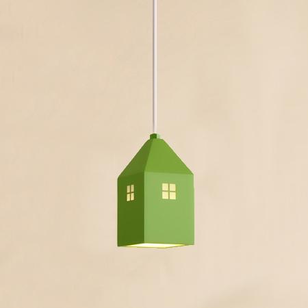 Detské závesné svietidlo v štýle mini domčeka v zelenej farbe