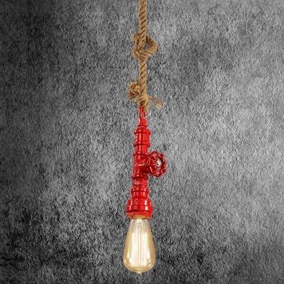 Kreatívne lanové závesné svietidlo v tvare priemyselného potrubia v červenej farbe