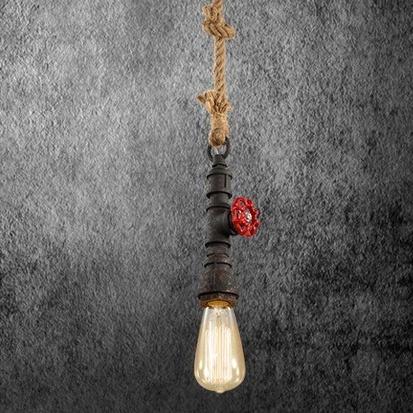 Kreatívne lanové závesné svietidlo v tvare priemyselného potrubia v čiernej farbe