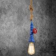 Kreatívne lanové závesné svietidlo v tvare priemyselného potrubia v modrej farbe