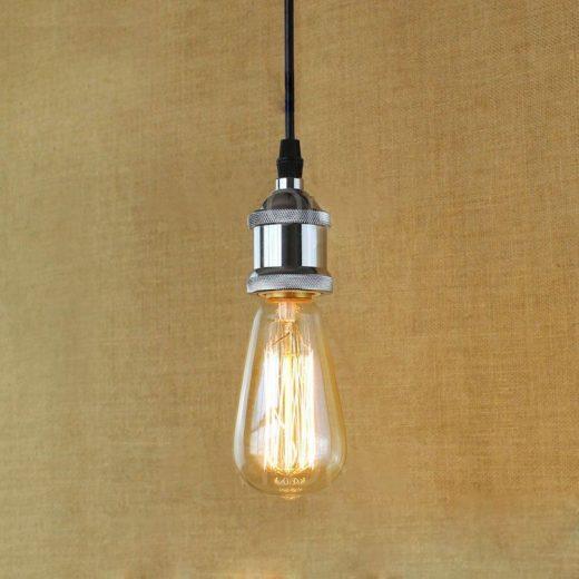 Závesné kovové mohutné svietidlo v retro dizajne v striebornej farbe
