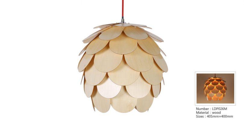 Originálne závesné drevené svietidlo z kolekcie iWood - CAMELLIA