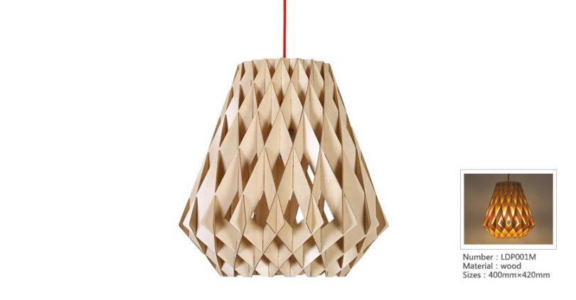 Originálne závesné drevené svietidlo z kolekcie iWood - DIAMANT