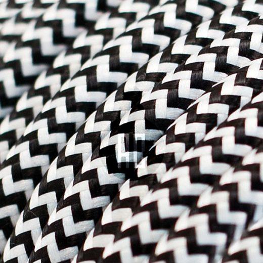 Kábel dvojžilový v podobe textilnej šnúry so vzorom BlackWhite, 2 x 0.75mm, 1 meter (1)