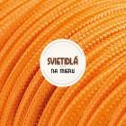 Kábel dvojžilový v podobe textilnej šnúry v krikľavej pomarančovej farbe