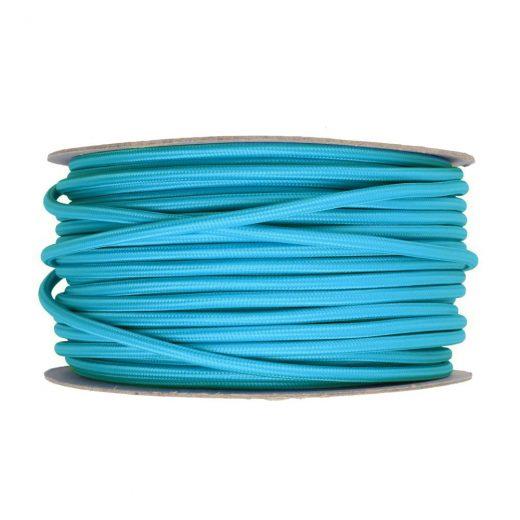 Kábel dvojžilový v podobe textilnej šnúry v tyrkysovej farbe, 2 x 0.75mm, 1 meter