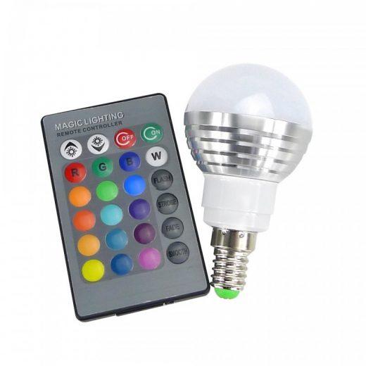 LED RGB žiarovka na diaľkové ovládanie, 16 funkcií, 3W, E14 (1)