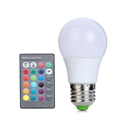 LED RGB žiarovka na diaľkové ovládanie, 16 funkcií, 3W, E27 (1)