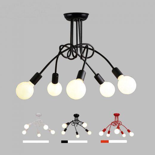 Moderné kreatívne závesné svietidlo s piatimi päticami vo farbách2