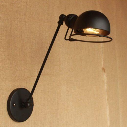 Historická nástenná lampa Masel v čiernej farbe (4)