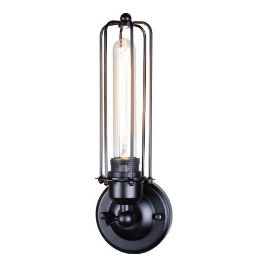Historické nástenné svietidlo s rovnou klietkou v čiernej farbe