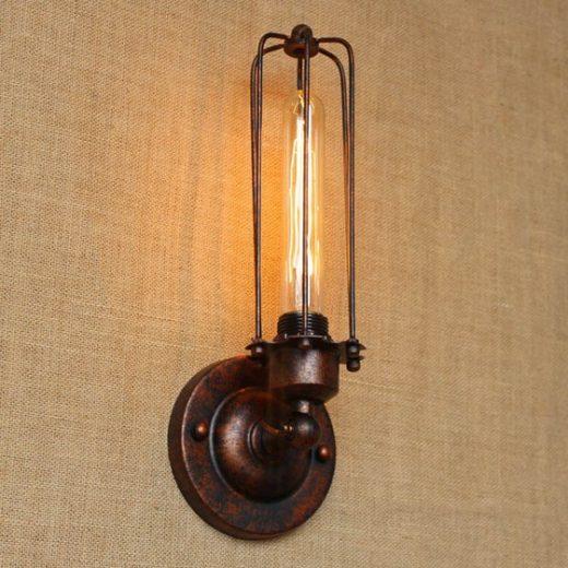 Historické nástenné svietidlo s rovnou klietkou v bronzovej farbe (2)
