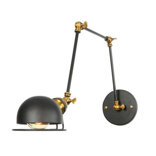 Historická nástenná lampa Magnum v dekoračnom štýle v čierno zlatej farbe