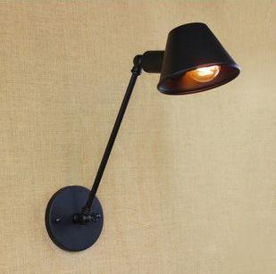 Retro nástenná lampa Tedy v čiernej farbe (6)
