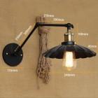 Starodávna nástenná lampa Chester s čiernym tienidlom (3)