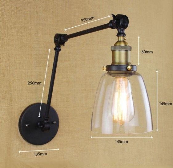 Starodávna nástenná lampa Harlin so skleneným tienidlom (3)