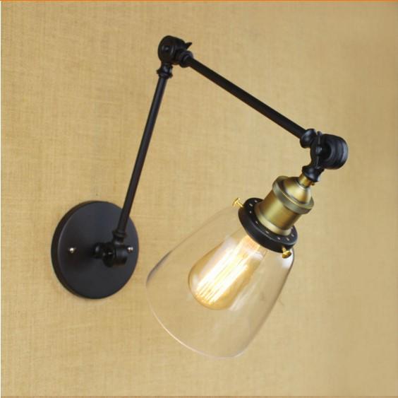 Starodávna nástenná lampa Harlin so skleneným tienidlom (4)