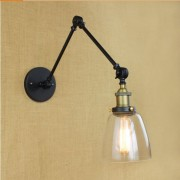 Starodávna nástenná lampa Harlin so skleneným tienidlom (6)