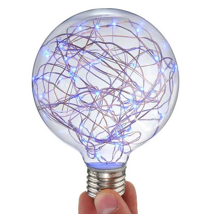 Dekoračná LED žiarovka EDISON, E27, 150lm, Globus, Modrá.