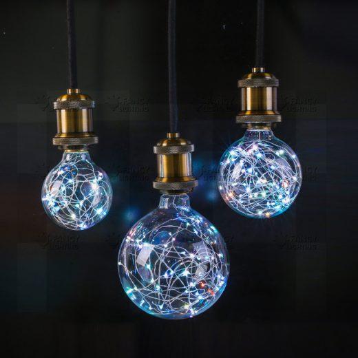Dekoračná LED žiarovka EDISON, E27, 150lm, Globus, RGB.