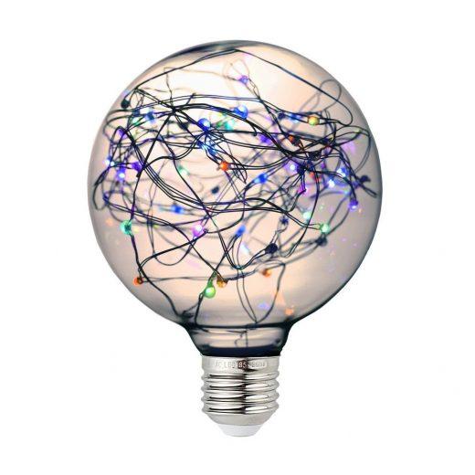 Dekoračná LED žiarovka EDISON, E27, 150lm, Globus, RGB - preblikujúca farby