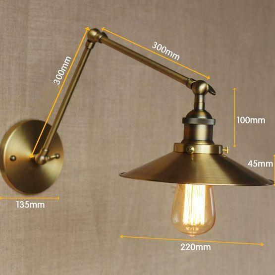 Historická nástenná lampa Alton300 v zlatej farbe