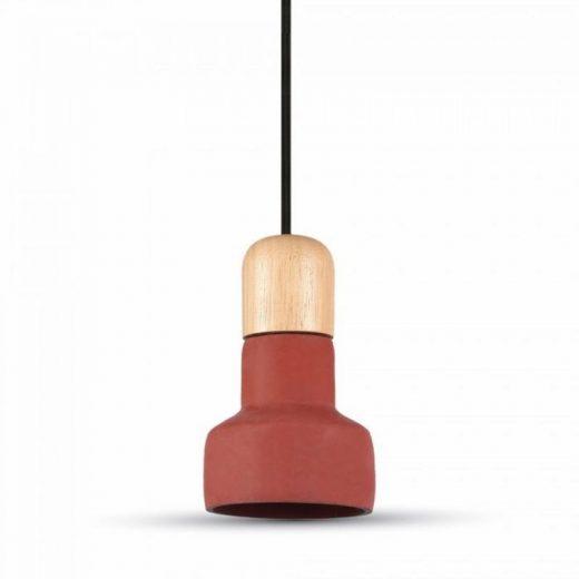Betónové závesné svietidlo Wood v červenej farbe