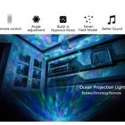 Farebný projektor morských vĺn, 7 morských farebných efektov + reproduktor, biela farba (1)