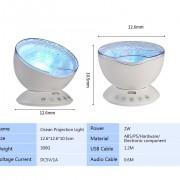 Farebný projektor morských vĺn, 7 morských farebných efektov + reproduktor, biela farba (10)