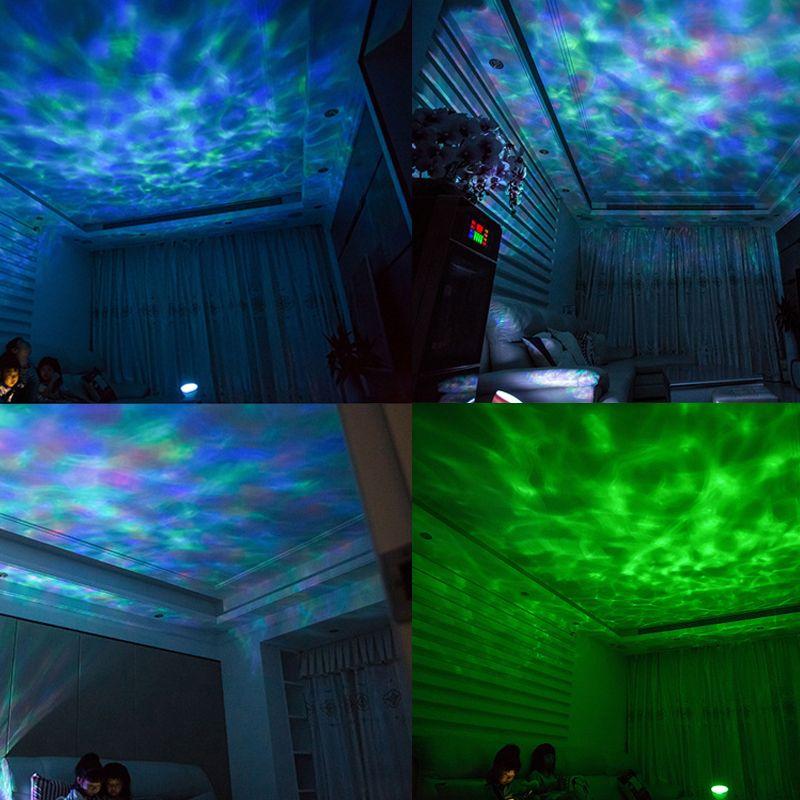 Farebný projektor morských vĺn, 7 morských farebných efektov + reproduktor, biela farba (9)