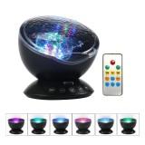 Farebný projektor morských vĺn, 7 morských farebných efektov + reproduktor, čierna farba (1)