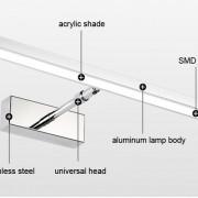 LED 7W nástenné svietidlo s nerezovej ocele vysokej kvality určené do kupeľne, wc, kuchyne a pod (5)