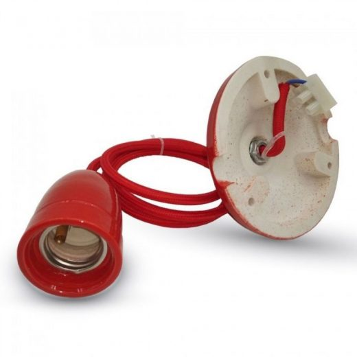 Porcelánové závesné svietidlo v červenej farbe