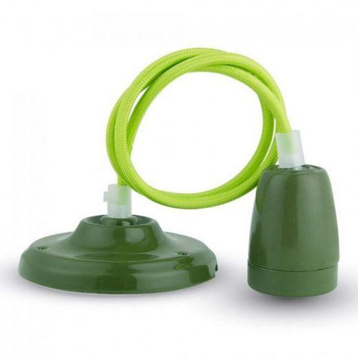 Porcelánové závesné svietidlo v zelenej farbe