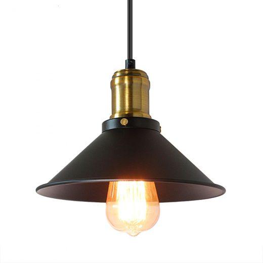 Historické závesné svietidlo v čiernej farbe, 220mm