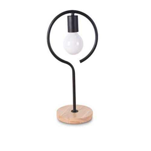 Stolová lampa v tvare kruhu s dreveným podstavcom