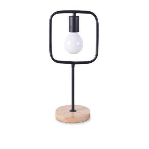 Stolová lampa v tvare štvorca s dreveným podstavcom