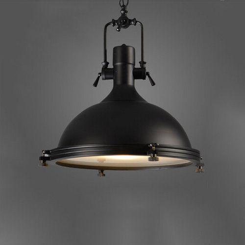 Závesné Vintage svietidlo v čiernej farbe, 50 x 40 cm