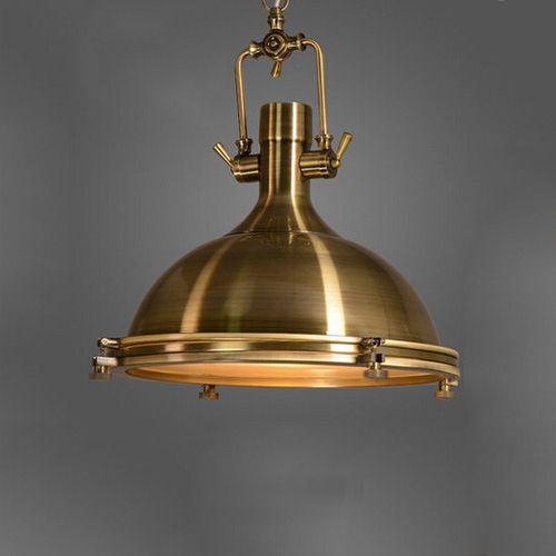 Závesné Vintage svietidlo v starodávnej mosádznej farbe, 50 x 40 cm