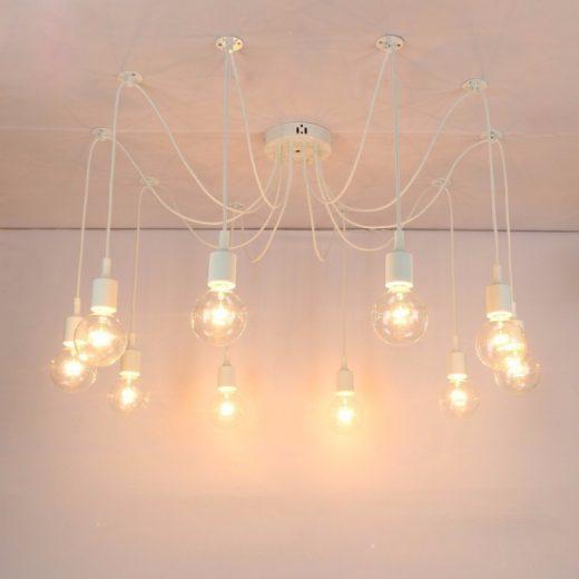 Moderné závesné svietidlo Pavúk so silikónovými päticami v bielej farbe