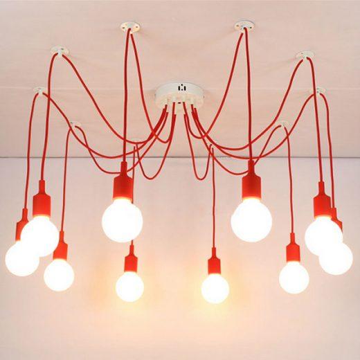 Moderné závesné svietidlo Pavúk so silikónovými päticami v červenej farbe