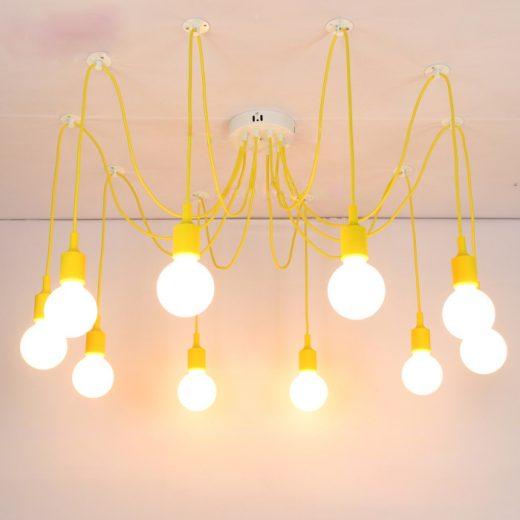 Moderné závesné svietidlo Pavúk so silikónovými päticami v žltej farbe